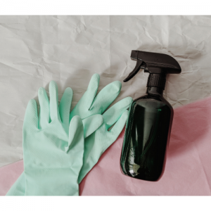 rubber gloves and cleaner spray bottle