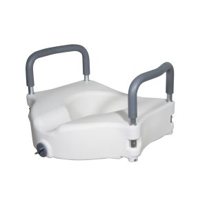 Drive Medical Elevated Raised Toilet Seat with Removable Padded Arms - Standard Seat
