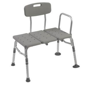 Drive Medical Plastic Tub Transfer Bench with Adjustable Backrest