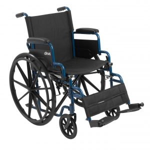 """Drive Medical 16"""" Blue Streak Wheelchair with swing-away footrests-min"""