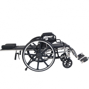 """Drive Medical 16"""" Viper Plus Reclining Wheelchair reclined all the way"""