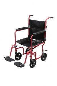 Drive Medical Flyweight Lightweight Transport Wheelchair with Removable Wheels - Red-min