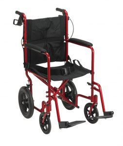 Drive Medical Lightweight Expedition Transport Wheelchair with Hand Brakes-min