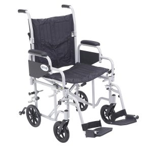 Drive Medical Poly Fly Light Weight Transport Chair Wheelchair with Swing away Footrests-min