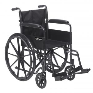 Drive Medical Silver Sport 1 Wheelchair with Full Arms and Swing away Removable Footrest-min